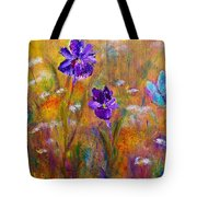 Iris Wildflowers And Butterfly Tote Bag