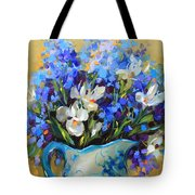Irises And Blue Glass Tote Bag