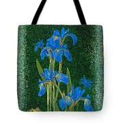 Irises Blue Flowers Lucky Love Frog Friends Fine Art Print Giclee High Quality Exceptional Colors  Tote Bag