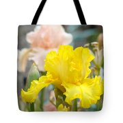 Irises Botanical Garden Yellow Iris Flowers Giclee Art Prints Baslee Troutman Tote Bag