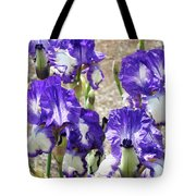 Irises Floral Art Iris Flowers Purple White Baslee Troutman Tote Bag
