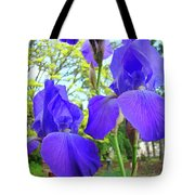Irises Floral Garden Art Print Blue Purple Iris Flowers Baslee Troutman Tote Bag