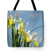 Irises In Blue Sky Art Print Spring Iris Flowers Baslee Troutman Tote Bag