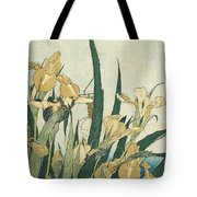 Irises With A Grasshopper Tote Bag