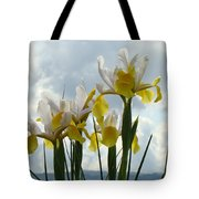 Irises Yellow White Iris Flowers Storm Clouds Sky Art Prints Baslee Troutman Tote Bag