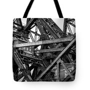 Iron Bridge Close Up In Black And White Tote Bag
