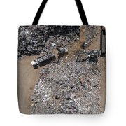 Iron Raw Materials Recycling Pile, Work Machines.  Tote Bag