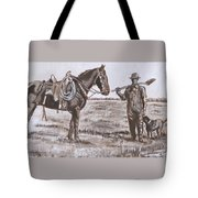 Irrigating The Hay Meadows Historical Vignette Tote Bag