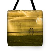 Irrigation System Operating At Sunset Tote Bag