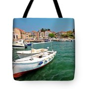 Island Of Prvic Turquoise Harbor And Waterfront View In Sepurine Tote Bag