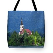 Island With Church On Bled Lake, Slovenia Tote Bag