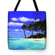 Island With Palm Trees Tote Bag