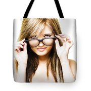 Isolated Sexy Girl Wearing Glasses On White Tote Bag