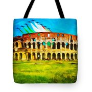 Italian Aerobatics Team Over The Colosseum Tote Bag