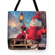 Italian Greyhound With Snowman Tote Bag