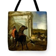 Italian Landscape With Horsemen By A Spring Tote Bag