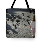 Italy, Florence, Young Girls Inspects Tote Bag