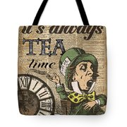 It's Always Tea Time Mad Hatter Dictionary Art Tote Bag