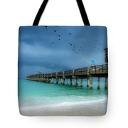 It's Getting Stormy At The Pier Tote Bag