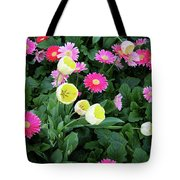 Ivory Tulips And Salmon Daisys Tote Bag