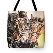 Jack And Joe Hard Workin Horses Tote Bag