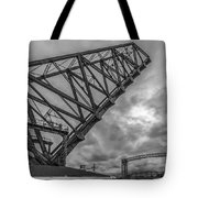 Jackknife Bridge To The Clouds B And W Tote Bag by Lon Dittrick
