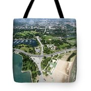 Jackson Park In Chicago Aerial Photo Tote Bag