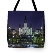 Jackson Square And St. Louis Cathedral At Dawn, New Orleans, Louisiana Tote Bag