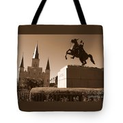 Jackson Square In New Orleans - Sepia Tote Bag