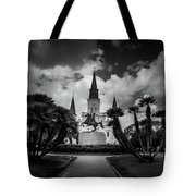 Jackson Square Sunrise In Black And White Tote Bag