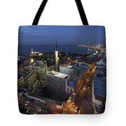 Jaffa At Night Aerial View Tote Bag