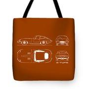 Jaguar E Type Blueprint - Red Tote Bag