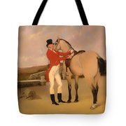 James Taylor Wray Of The Bedale Hunt With His Dun Hunter Tote Bag