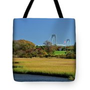 Jamestown Marsh With Pell Bridge Tote Bag