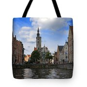 Jan Van Eyck Square With The Poortersloge From The Canal In Bruges Tote Bag