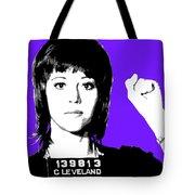 Jane Fonda Mug Shot - Purple Tote Bag