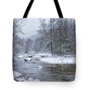January Snow On The River Tote Bag