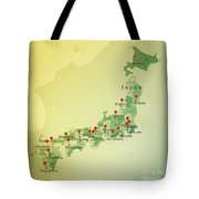 Japan Map Square Cities Straight Pin Vintage Tote Bag