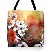 Japanese Cherry Blossom Abstract Flowers Tote Bag