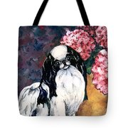 Japanese Chin And Hydrangeas Tote Bag