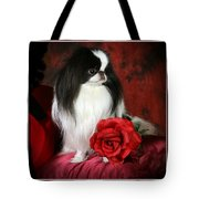 Japanese Chin And Rose Tote Bag