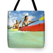 Japanese Couple Kayaking Tote Bag
