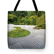 Japanese Flat Garden With Checkerboard Pattern Tote Bag