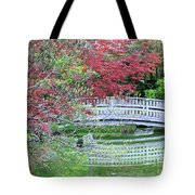 Japanese Garden Bridge In Springtime Tote Bag