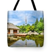 Japanese Garden In Park With Tower Tote Bag
