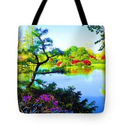 Japanese Garden In Spring Tote Bag