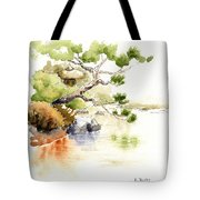 Japanese Garden Pond Sketch Tote Bag