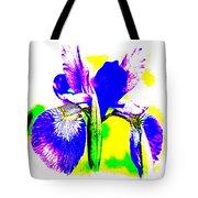 Japanese Iris Pop Art Abstract Tote Bag