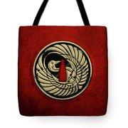Japanese Katana Tsuba - Golden Crane On Black Steel Over Red Velvet Tote Bag