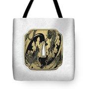 Japanese Katana Tsuba - Golden Twin Dragons On Black Steel Over White Leather Tote Bag